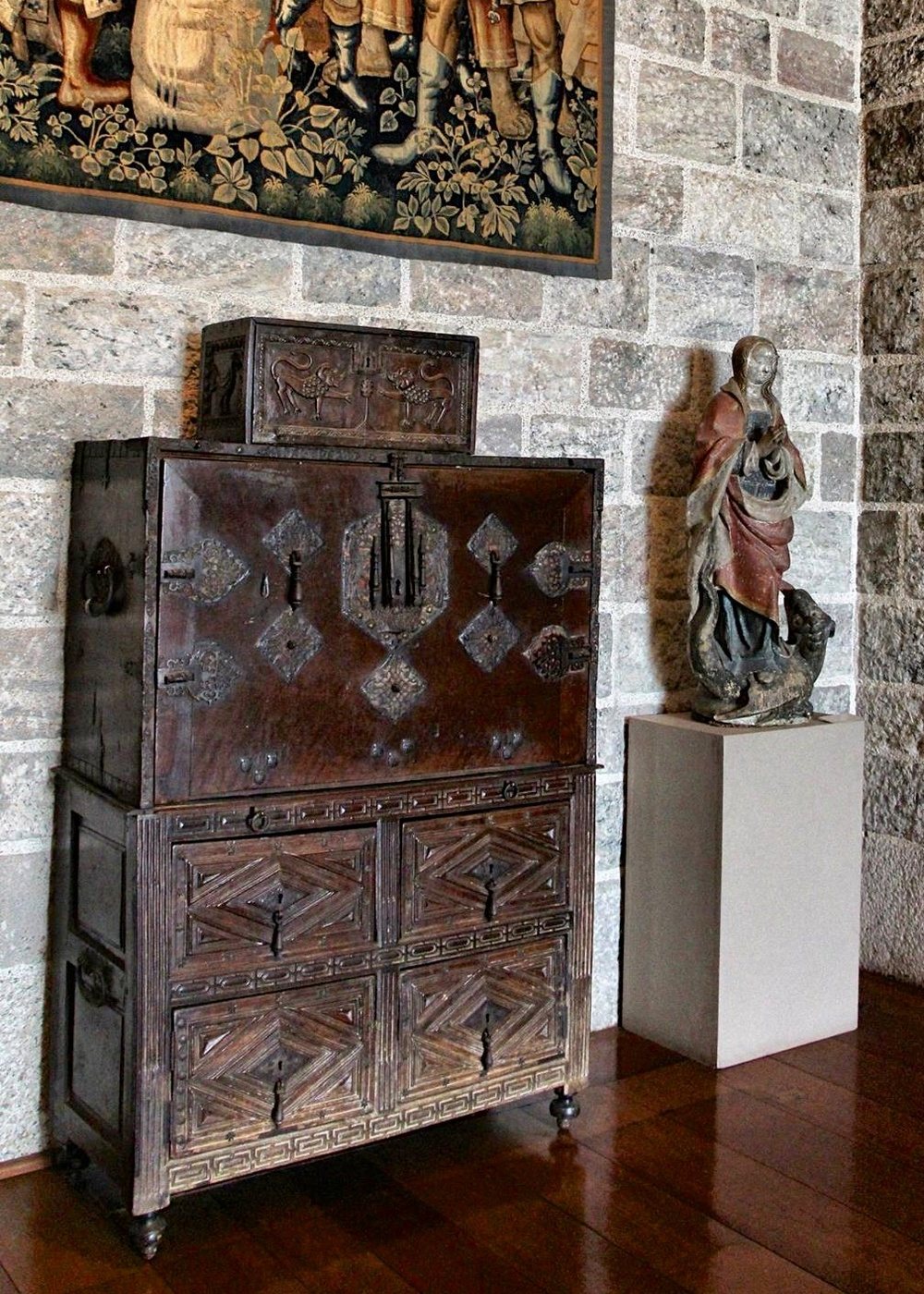 Antique Spanish furniture in Glencairn's Upper Hall - Other Collections — Glencairn Museum