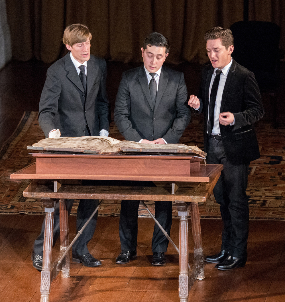 Figure 10: Members of the ensemble Les Canards Chantants perform from the manuscript during one of their concerts as Ensemble in Residence at Glencairn. From left to right: Graham Bier, Alex Nishibun, and Owen McIntosh. Photo by Frank Slezak.