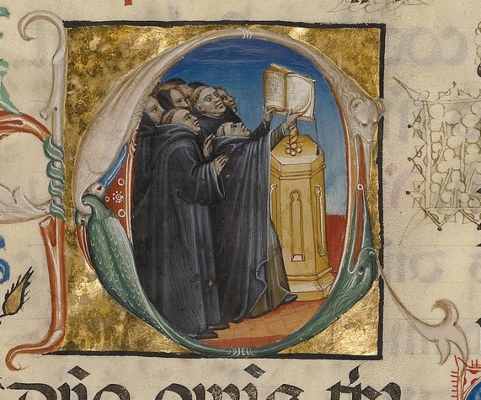 "Figure 3: This illuminated letter ""C"" is from folio 151 of a breviary in the collection at the Getty Museum, thought to have been made around 1420 in northeastern Italy. It illustrates how a large group of monks would have sung from a single choirbook. Image courtesy of the Getty Museum's Open Content Policy."