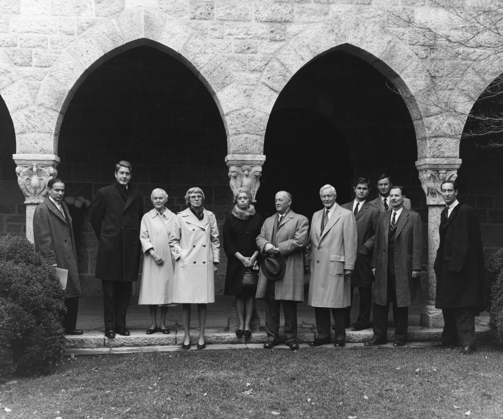 Figure 11: Mildred (third from left) and Raymond Pitcairn (fifth from right) pose with James Rorimer (left of Pitcairn, holding a hat) and a group from the Metropolitan Museum of Art in New York. The photograph was taken by Michael Pitcairn, Raymond and Mildred's son, in November of 1965.
