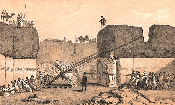 Figure 6: A drawing by an excavation artist dramatizing Nineveh excavator Austen Henry Layard's supervision of the removal of a colossal bull. Though intended as an objective record of the event, it is clear that the image also tells us a great deal about how British excavators in Iraq saw their role  vis-a-vis  the Iraqi workers they employed. (Public domain via Wikimedia Commons)