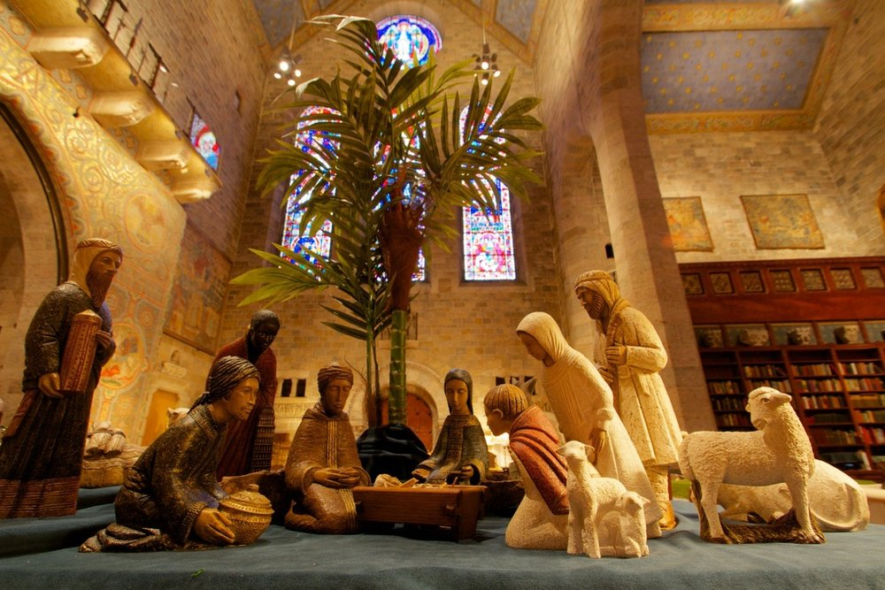Each year Glencairn's  World Nativities  exhibition borrows crèches from the collections of other organizations. In 2013 this Nativity, made in a French monastery by members of the Sisters of Bethlehem, was loaned by Mepkin Abbey in South Carolina.