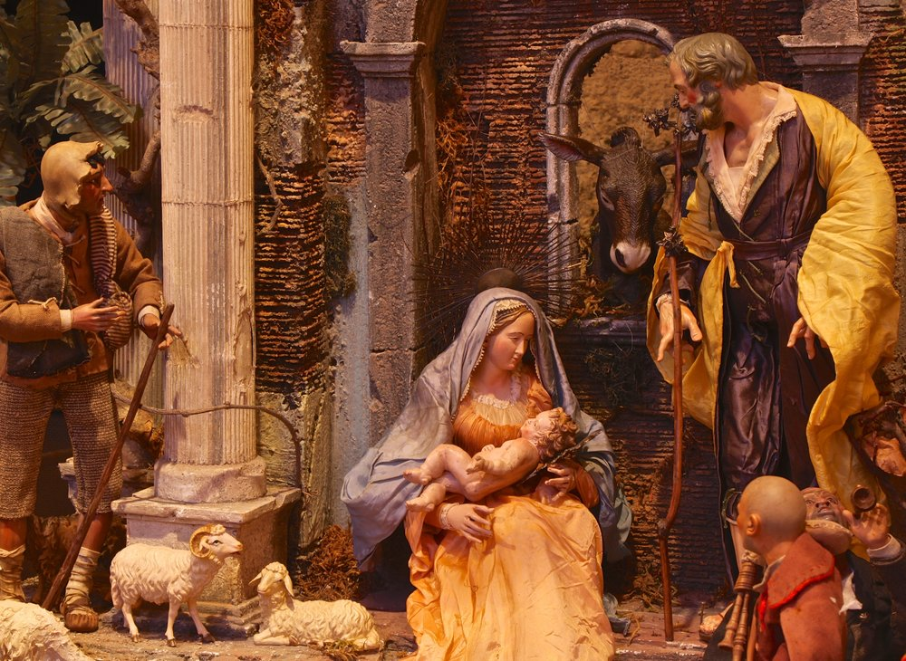 "Figure 4: According to designer Kathleen Glenn Pitcairn, who planned the installation of the Presepio at Glencairn, ""Some of the faces of the characters were made to show emotion; you feel there's life in them. One shepherd is coming around the corner to see the Christ Child for the first time, and he has a look of awe."""