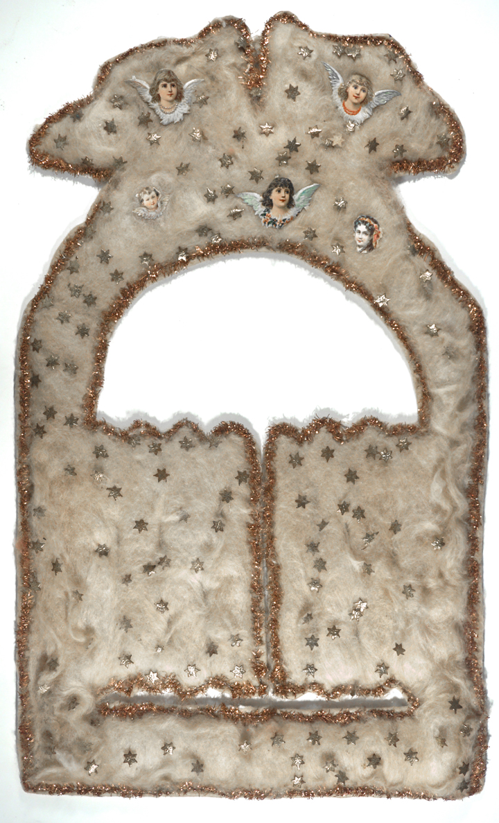 Figure 1: This late 19th-century Christmas ornament depicting the gates of heaven with angels flying above was made in a Pennsylvania Dutch home from cardboard, cotton batting, tinsel, and small chromo-lithographed pictures. The image is also found on tombstones. On loan from the National Christmas Center and Museum, Lancaster, PA.