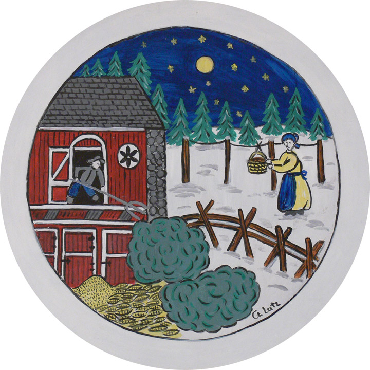 "Figure 8: ""The housewife placed food such as cookies, sausages, etc. into a basket out of reach of animals outdoors hoping that the Christmas Dew would be deposited on it. On Christmas Day, the family ate the food, hoping to remain healthy throughout the year"" (quote by Gladys M. Lutz, artist). On loan from the Pennsylvania German Cultural Heritage Center, Kutztown University."