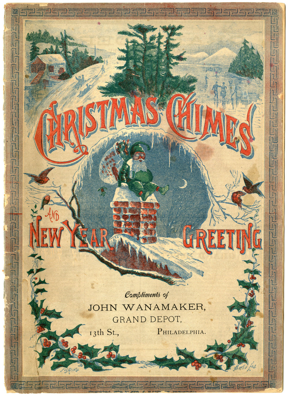 Figure 10: John Wanamaker published the first department store Christmas giveaway booklet in Philadelphia in 1879. Santa Claus is depicted on the cover in a green suit, going down the chimney. This eighteen-page booklet, which includes only two pages of advertising, features Christmas poems, stories, engravings and cartoons. On loan from the National Christmas Center and Museum, Lancaster, PA.