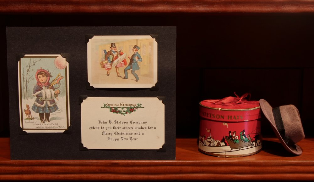 Figure 12: Stetson Hats were manufactured in Philadelphia from 1865 until 1971. Miniature hat boxes with miniature Stetson hats like this one were a popular Christmas gift; inside was a gift certificate that could be exchanged for a full-sized hat, fitted and trimmed. On loan from the National Christmas Center and Museum, Lancaster, PA.