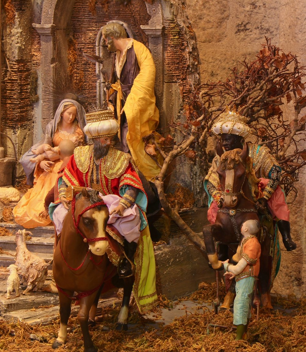 Figure 7: The figures and structures in this magnificent Presepio, or Nativity scene, were collected over a period of more than thirty years by the late Elizabeth Anne Evans of Bucks County during her annual trips to Naples, Italy. The figures, which date to the late 19th and early 20th centuries, are made from terracotta, wood, wire, cloth and San Leucio silks. There are four major themes in a Neapolitan Presepio: the Nativity of Jesus Christ, the Adoration of the Shepherds, the Adoration of the Wise Men, and the Inn at Bethlehem. In most Presepi, as in the one on exhibit at Glencairn, the four themes are combined into a single integrated scene. On loan from the Fleisher Art Memorial, Philadelphia, PA.