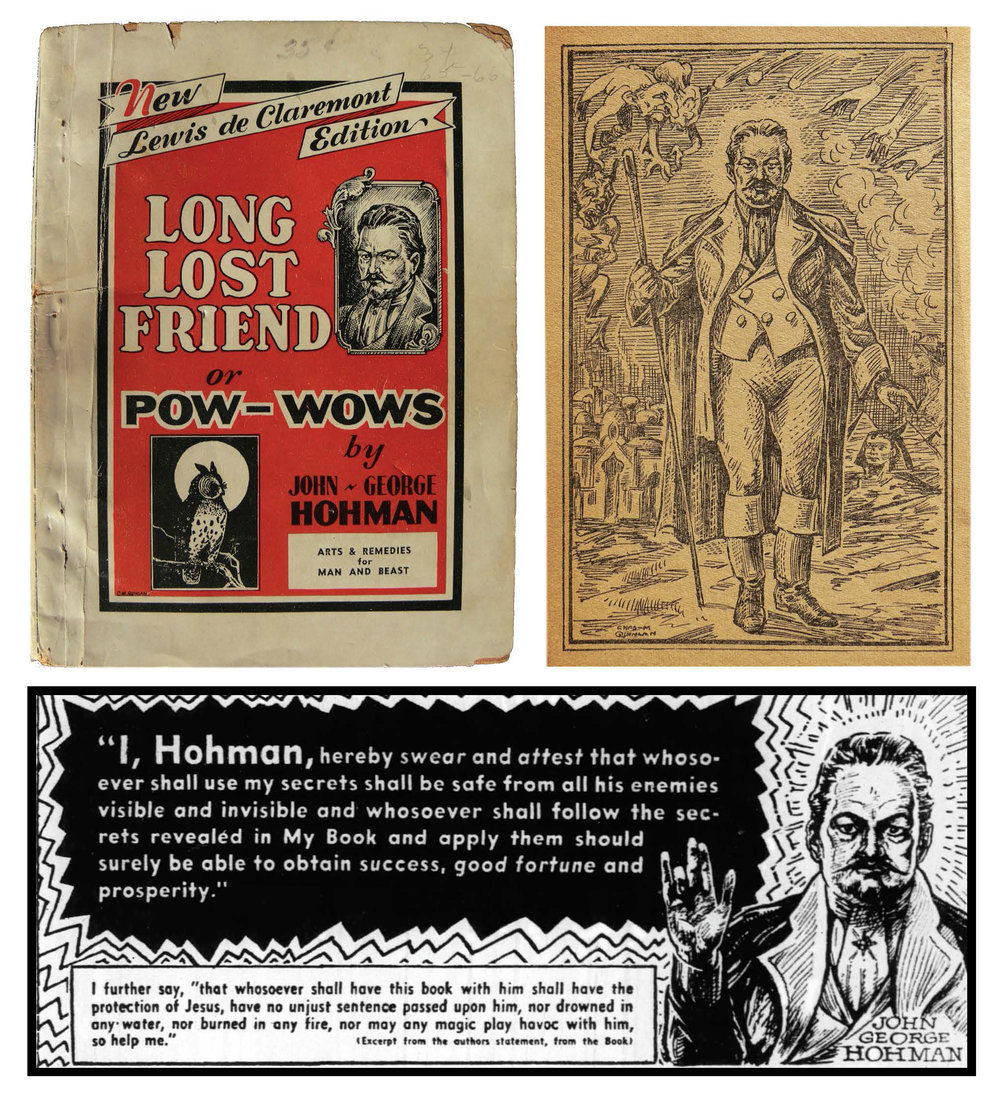 Figure 26: Above: Lewis de Claremont's Long Lost Friend or Pow-Wows, a 1930s edition of John George Hohman's classic work, featuring illustrations from the comic artist Charles M. Quinlain, who also illustrated golden-age titles such as Lone Eagle, Masked Rider, Hopalong Cassidy, Super-Sleuths, and Cat-man & Kitten. Heilman Collection of Patrick J. Donmoyer. Below: A newspaper advertisement for the Louis de Claremont edition of Hohman's Long Lost Friend, featured in the Pittsburgh Courier in 1939.