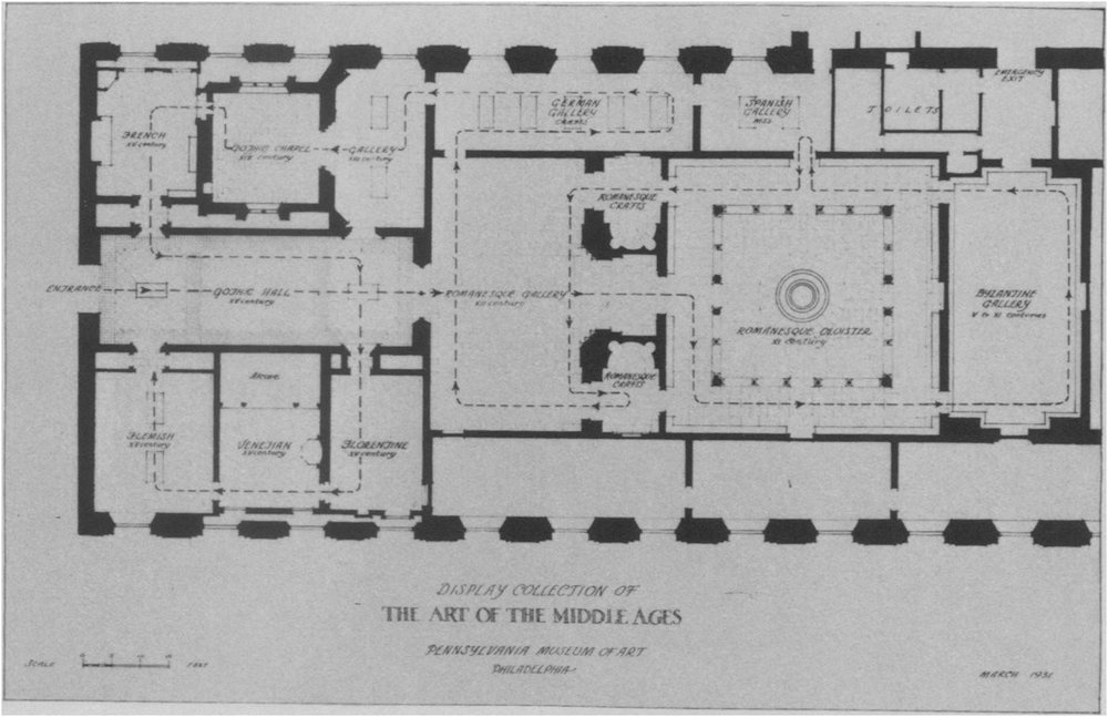 "Figure 1: Plan of the ""Display Collection of the Art of the Middle Ages,"" March 1931, Philadelphia Museum of Art."
