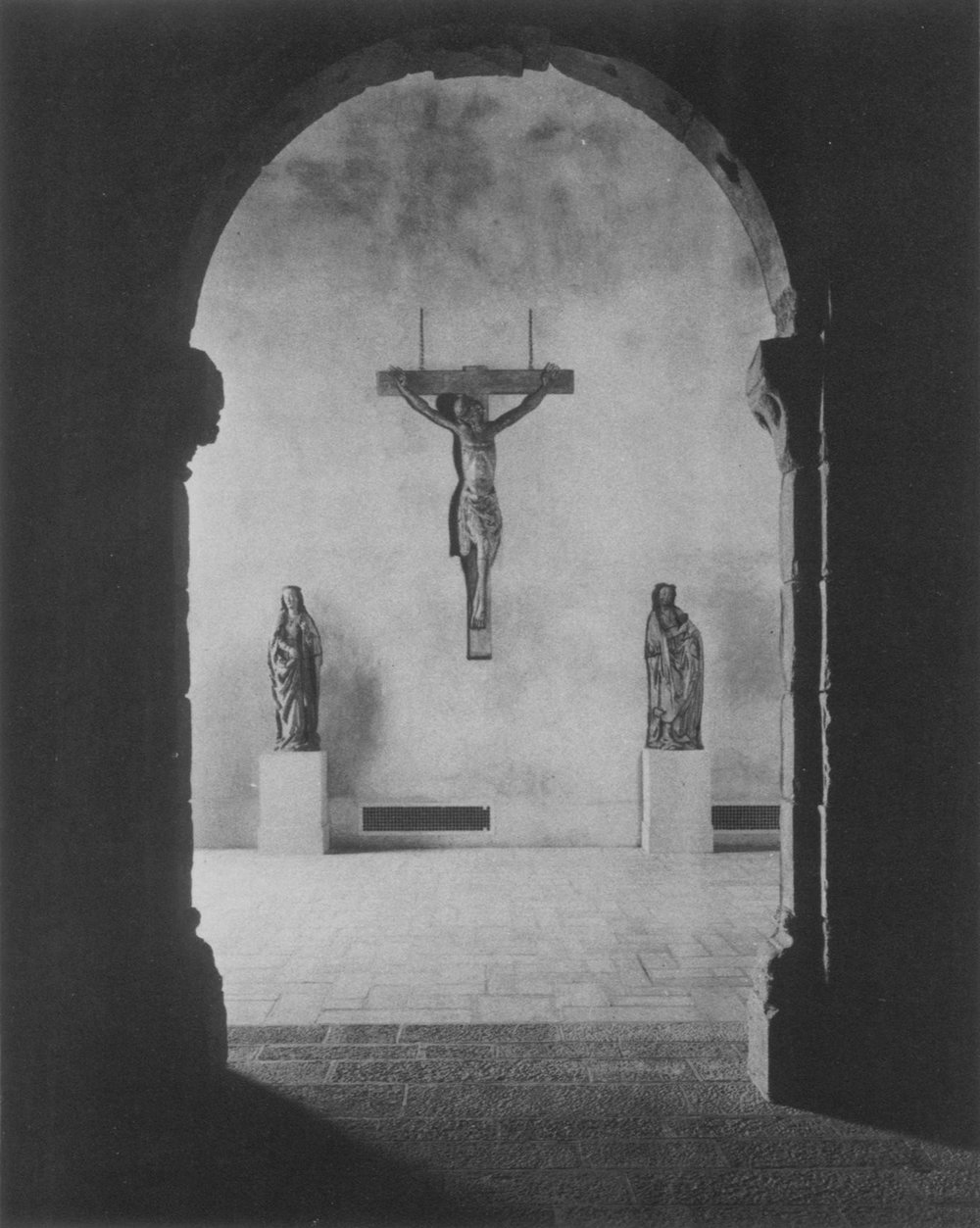 "Figure 17: View of the ""Calvary Group"" facing the entrance to the Gothic Chapel, March 1931, Philadelphia Museum of Art."