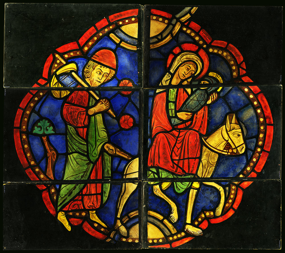"Figure 6: This painting on cardboard of the ""Flight into Egypt"" from the Church of Sainte-Radegonde was made by Albert Cullen in 1924. The six sections were mailed to Lawrence Saint in Bryn Athyn."