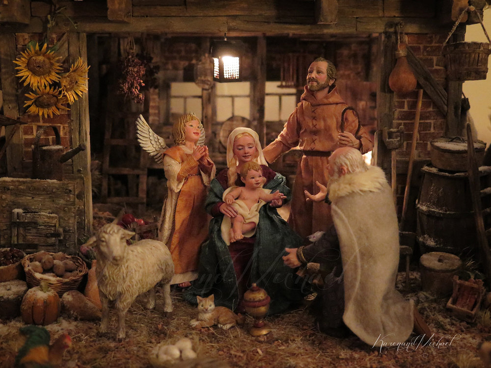 Karen Loccisano and R. Michael Palan, a husband-and-wife team of professional artists from Bridgewater, New Jersey, have been crafting this three-dimensional Flemish Nativity scene together since 2014. Their work has been influenced by several Dutch and Flemish Renaissance painters. The Nativity of Jesus Christ is depicted as taking place in a snowy, 16th-century Flemish village. Karen and Michael have included an angel with Down syndrome in this Nativity, standing near the Holy Family. Photo by R. Michael Palan.