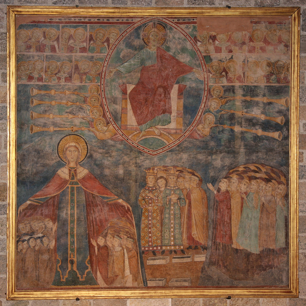 Figure 5: This fresco from a late thirteenth-century convent in Spoleto, Italy, features Christ in Majesty surrounded by archangels, elders, and trumpeting angels. Living and resurrected humans await judgment below. On exhibit in the Great Hall of Glencairn Museum (08.FS.06).