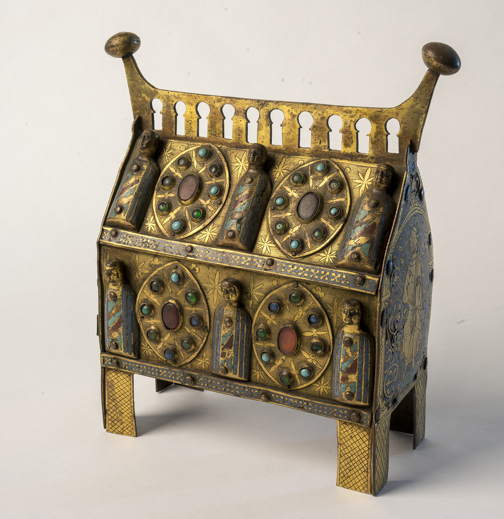 Figure 6: This copper and enamel reliquary, made during the thirteenth century in Limoges, France, was intended for the veneration of a saint's relics. The front features the images of six saints. On exhibit in Glencairn Museum's Medieval Treasury (05.EN.111).