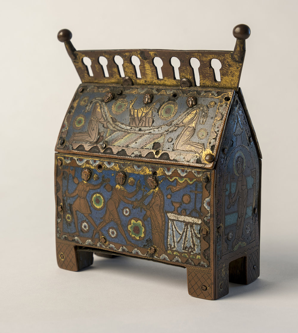 Figure 7: This thirteenth-century enamel reliquary from Limoges, France, originally contained a fragment of the body of Saint Thomas Becket. On exhibit in Glencairn Museum's Medieval Treasury (05.EN.112).