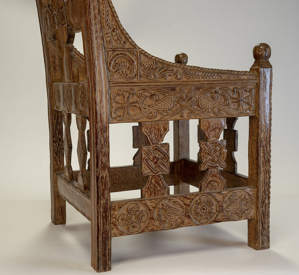 Figure 9: Right side of Glencairn's chair. The design at the center of the right vertical spindle is copied from the original Tyldal chair.
