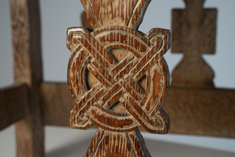 Figure 10: Detail of the design at the center of the right vertical spindle on the right side of Glencairn's chair.