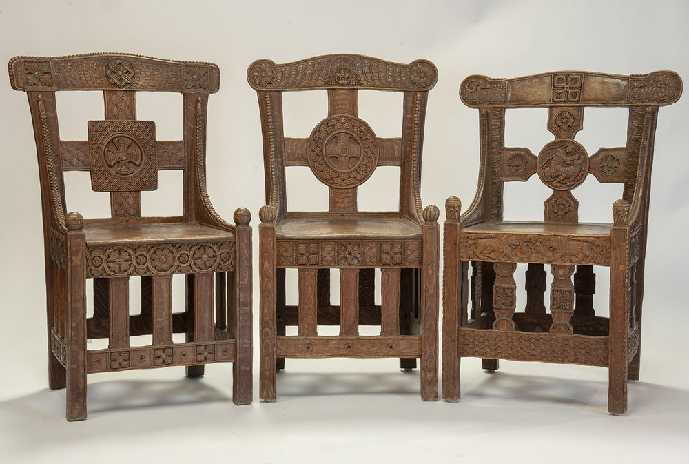 Figure 14: Three Tyldal-style chairs from Bryn Athyn Cathedral. The chair on the right is most similar in construction to Glencairn's chair. The two chairs on the left are slightly taller and have three front vertical spindles instead of two.