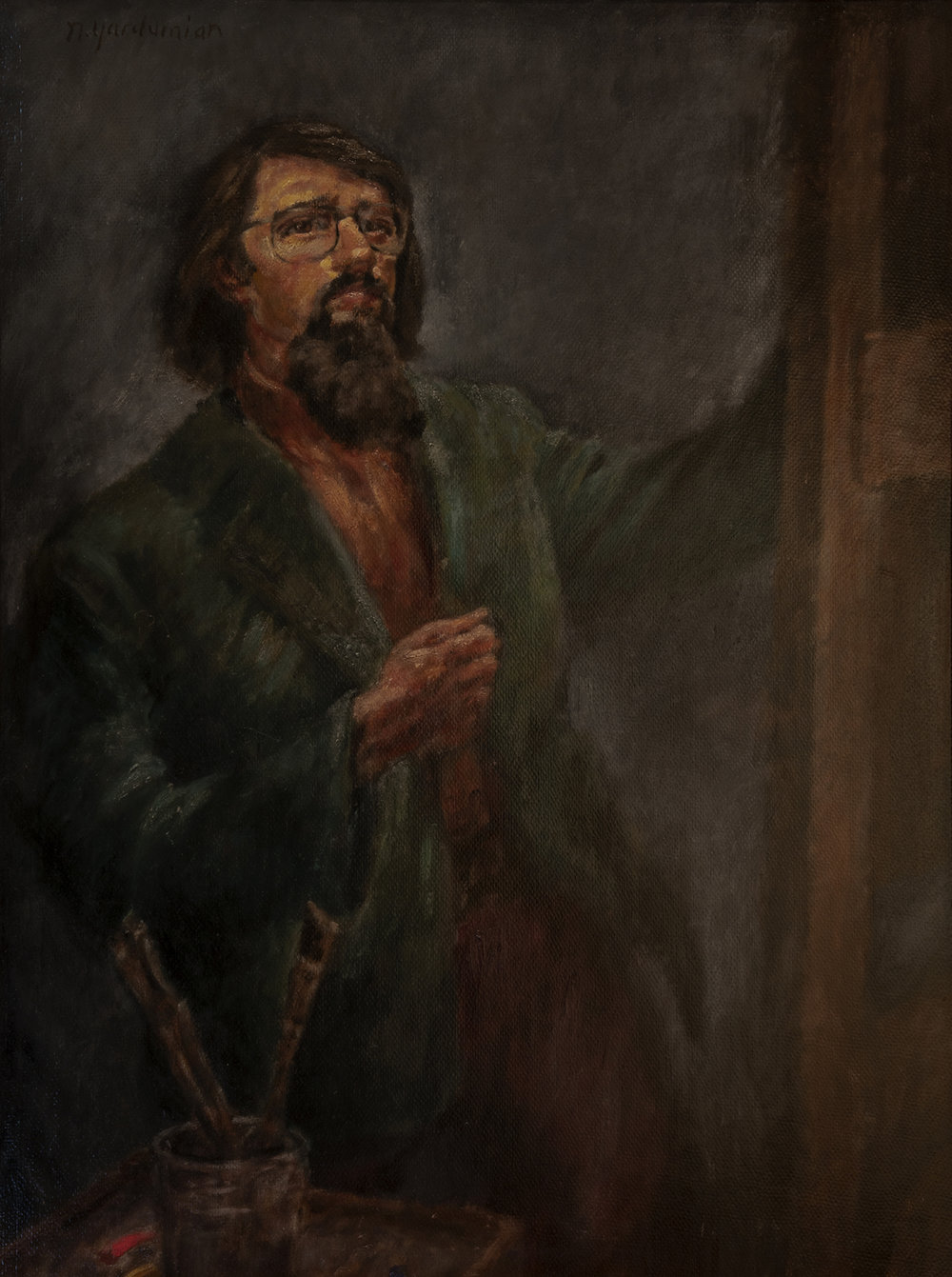 Figure 1:  Self Portrait . Oil, 1977. On loan from Siri Yardumian Hurst.