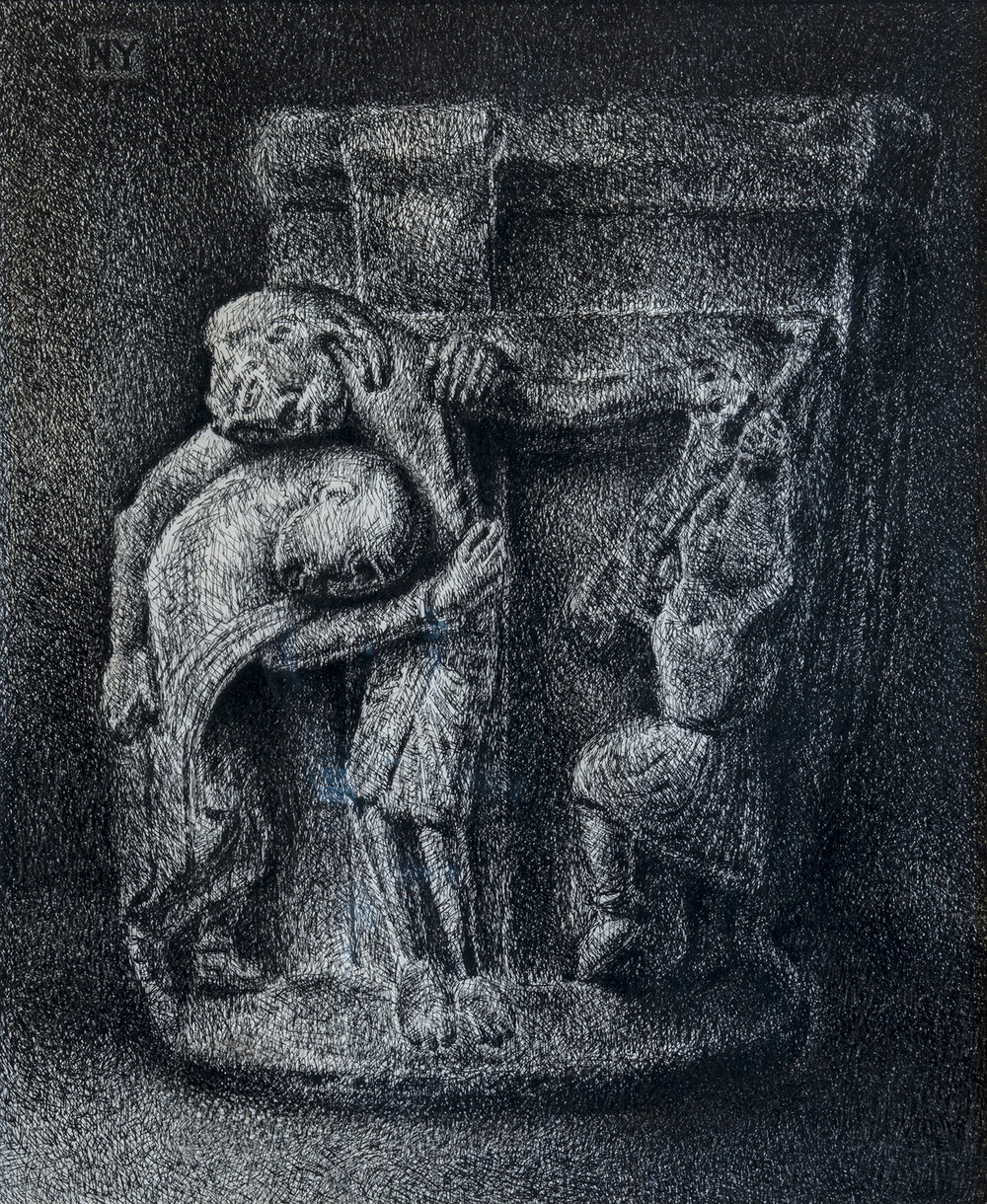 Figure 9:  Descent from the Cross .  John 19:38-42 . Pen and ink, 1977. Collection of Glencairn Museum, donated by Vera P. Glenn. Based on 12th c. (?) limestone capital from Spain in the collection of Glencairn Museum. See Figure 8.