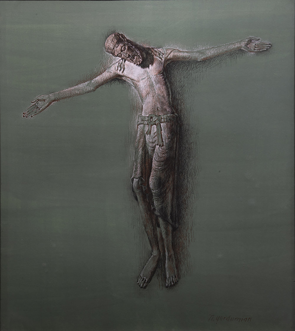 Figure 10:  Descent from the Cross .  John 19:38-42 . Conte crayon, 1978. On loan from Michael Hogan.