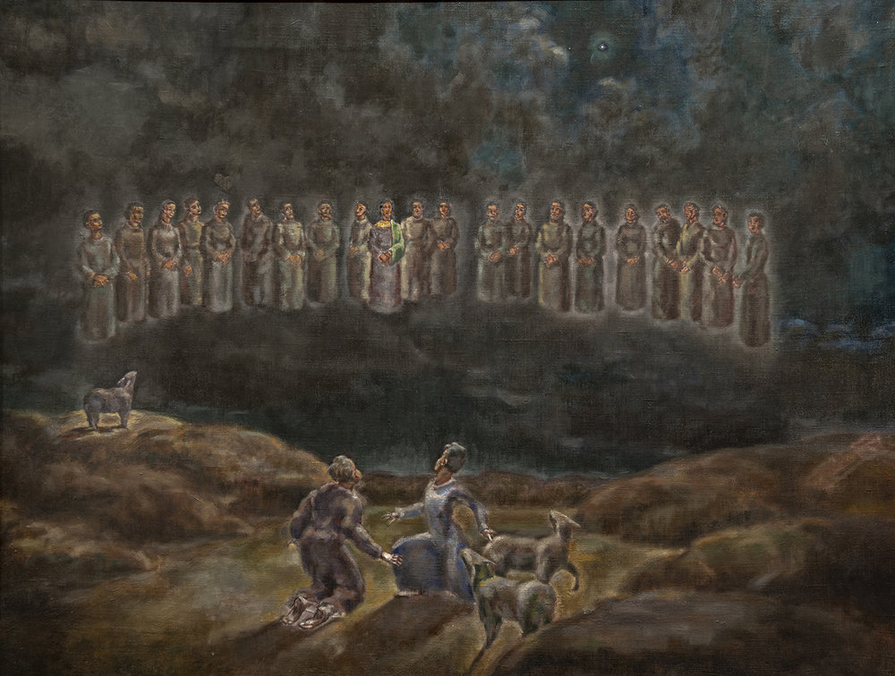 Figure 3:  Annunciation to Shepherds .  Luke 2:8-14 . Oil on canvas, circa 1975. On loan from Siri Yardumian Hurst.