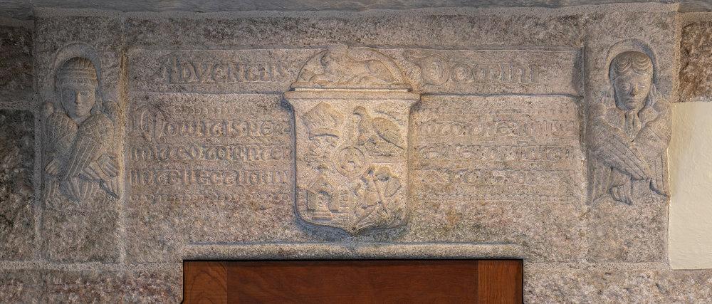 Figure 16: The lintel above Glencairn's chapel door is carved in granite.