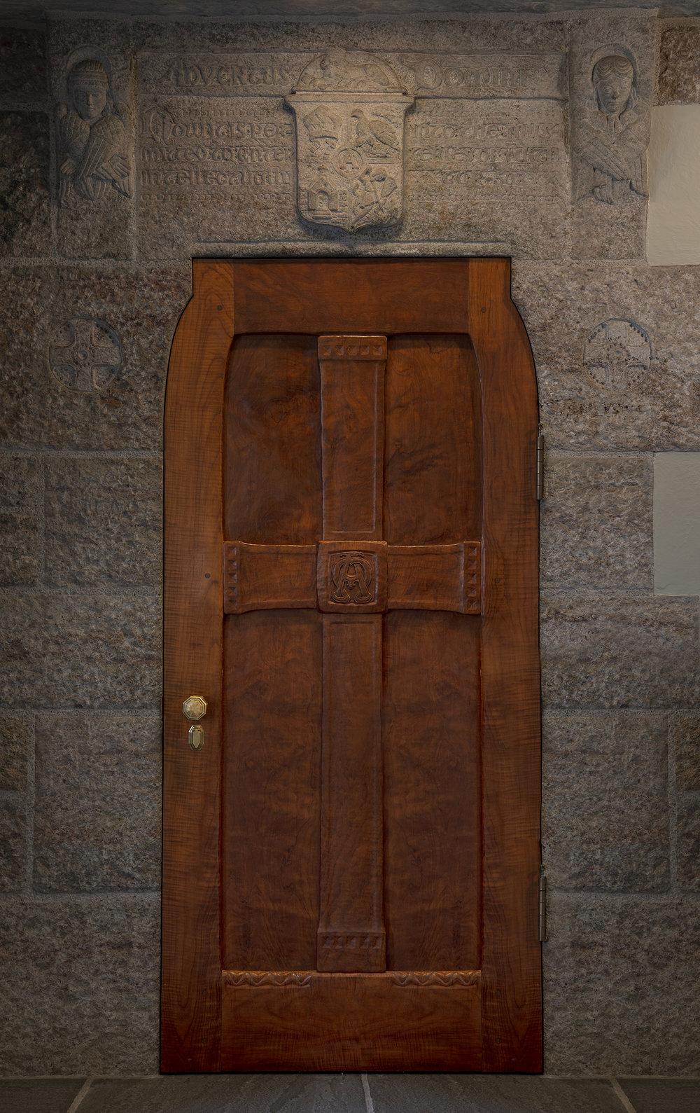 Figure 14: The lintel and teakwood door for Glencairn's chapel on the fifth floor.