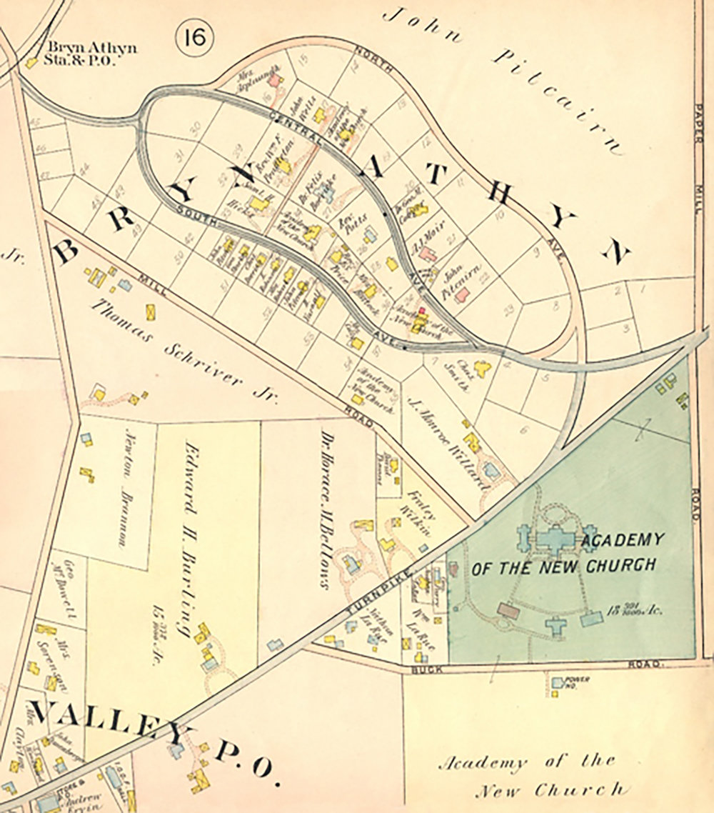 "Figure 3: Detail of a portion of Bryn Athyn from  Atlas of the Properties on the Reading Railway Embracing Cheltenham, Abington, Springfield and Parts of Moreland and Whitemarsh Townships. Plan of the Huntingdon Valley Moreland Township . Author: A. H. Mueller (1909). Plate 17 includes the residential ""Loop"" and the Academy of the New Church properties."