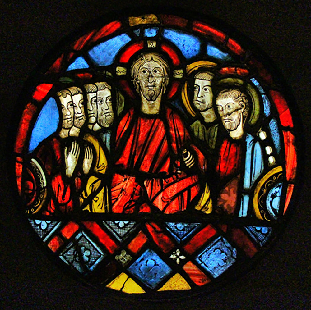 Figure 2: Thirteenth-century stained-glass panel from France, most likely depicting the Last Supper. Glencairn Museum, 03.SG.108.