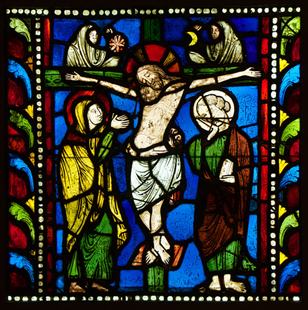 Figure 5: Thirteenth-century stained-glass panel from France depicting the Crucifixion. Glencairn Museum, 03.SG.221.