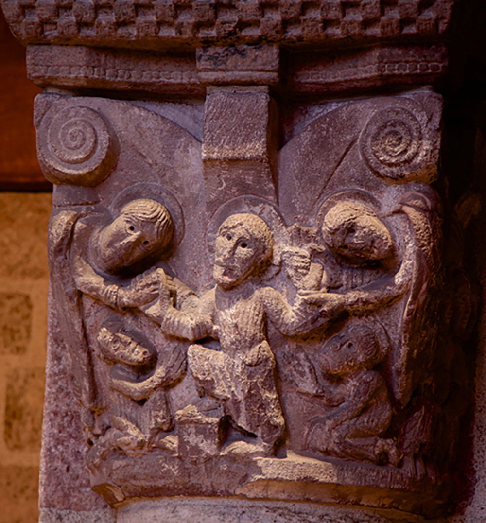 Figure 9: Twelfth-century French stone capital depicting the Ascension in Glencairn's Great Hall. Glencairn Museum, 09.SP.115.
