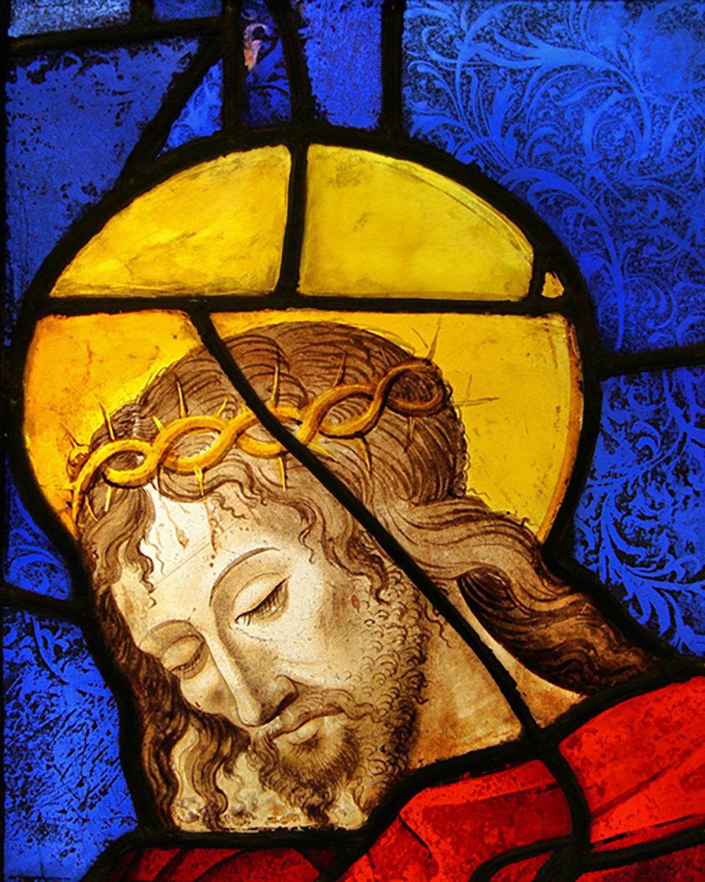 Figure 10: Sixteenth-century French stained-glass panel with the head of Christ. Glencairn Museum, 03.SG.9.