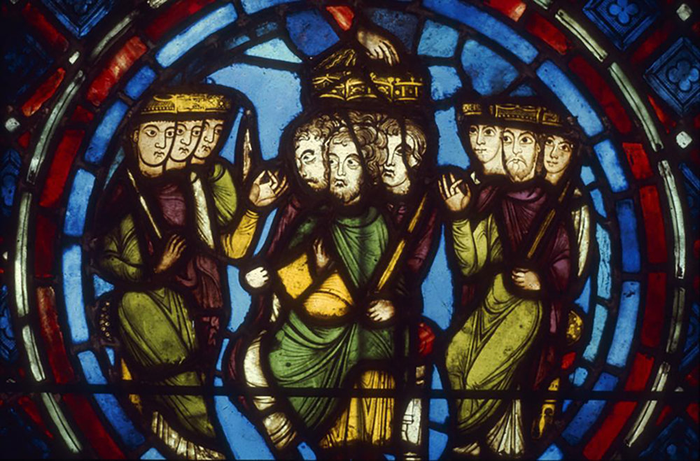 Figure 3: Crusaders receiving the crowns of Martyrdom from the Crusading window of the Abbey Church of Saint-Denis, France, c. 1146-1148 or c. 1158 (Glencairn Museum, 03.SG.111). The group of heads to the left were painted by the same artist who painted the Pitcairn Flight into Egypt.