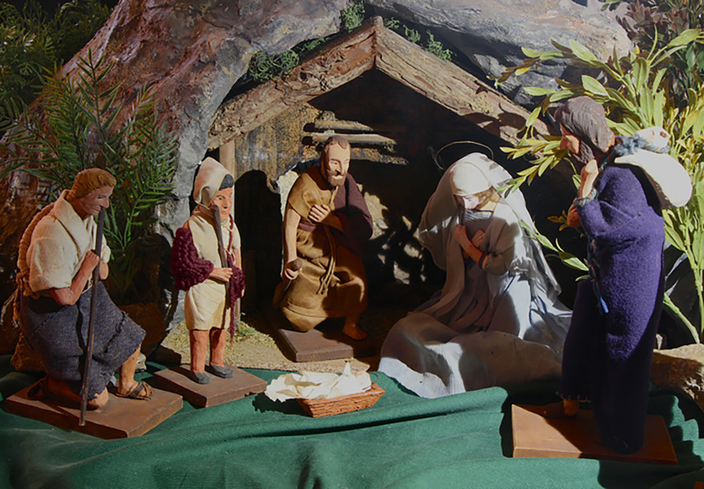 Figure 14: This Canadian Nativity originally belonged to a church in New Jersey, where it had been in the basement for about fifty years. The figures are hand carved from wood, and their clothing is hand sewn. A member of the congregation believes the Nativity probably dates to the 1920s. It likely belongs to the French Canadian tradition of wood carving, which traces its origins to the seventeenth century. On loan from the National Christmas Center and Museum.