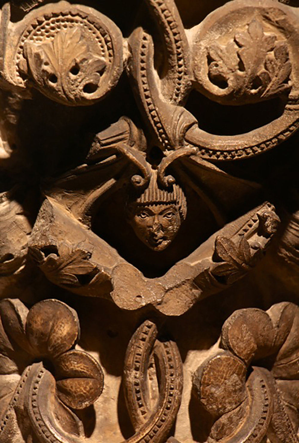 Romanesque capital from the cloister of Saint-Guilhem-le-Désert.