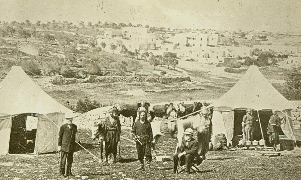 Camping in Jerusalem: April 20, 1878. Pitcairn (left) and Benade (sitting, right) near the Jaffa Gate in Jerusalem. Photograph courtesy of the Academy of the New Church Archives, Swedenborg Library, Bryn Athyn.