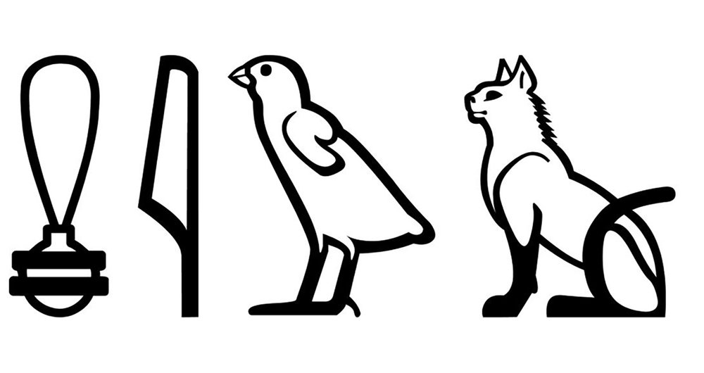 "Figure 4: Hieroglyphs for the word ""cat,"" reading  miu ."