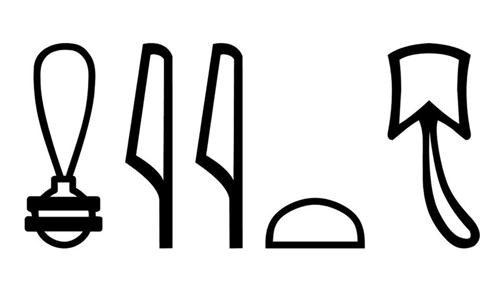 "Figure 5: Hieroglyphs for the word ""cat,"" reading  miut ."