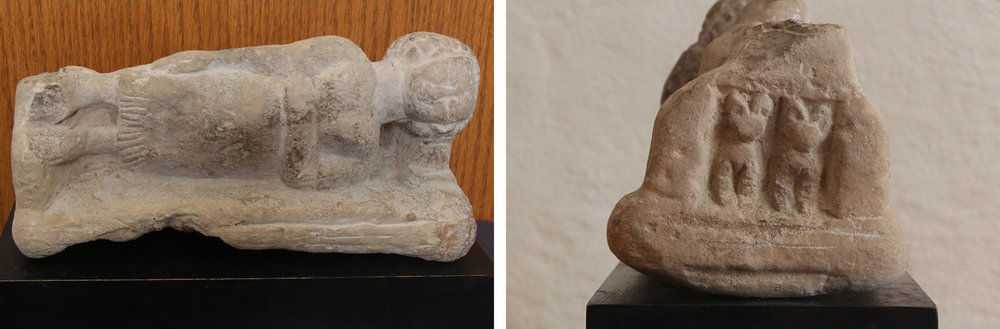 Figure 12: A limestone statuette of a woman on a bed with cat iconography on the footboard, New Kingdom–Late Period (1539-332 BCE). Glencairn Museum E1219.