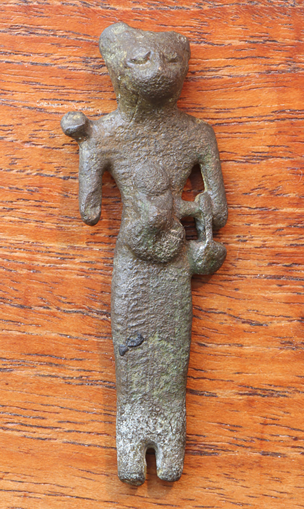 Figure 13: Bronze votive of a standing Bastet, Late Period (664-332 BCE). Glencairn Museum E969.