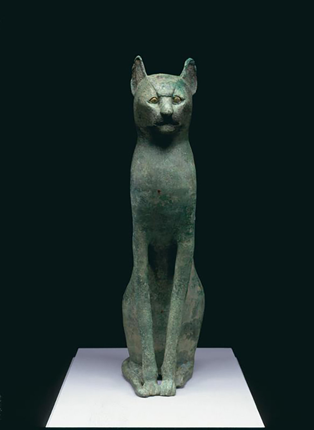 Figure 15: Bronze cat with gilded details, Dynasty 22 or later (945-712 BCE or later). Penn Museum E14284.
