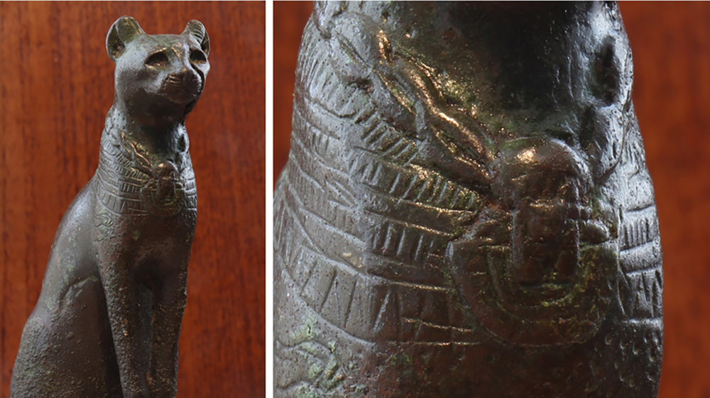 Figure 16: Seated bronze cat votive, Late Period (664-332 BCE). Detail of the aegis pectoral on the chest of the cat (right). Glencairn Museum E60.