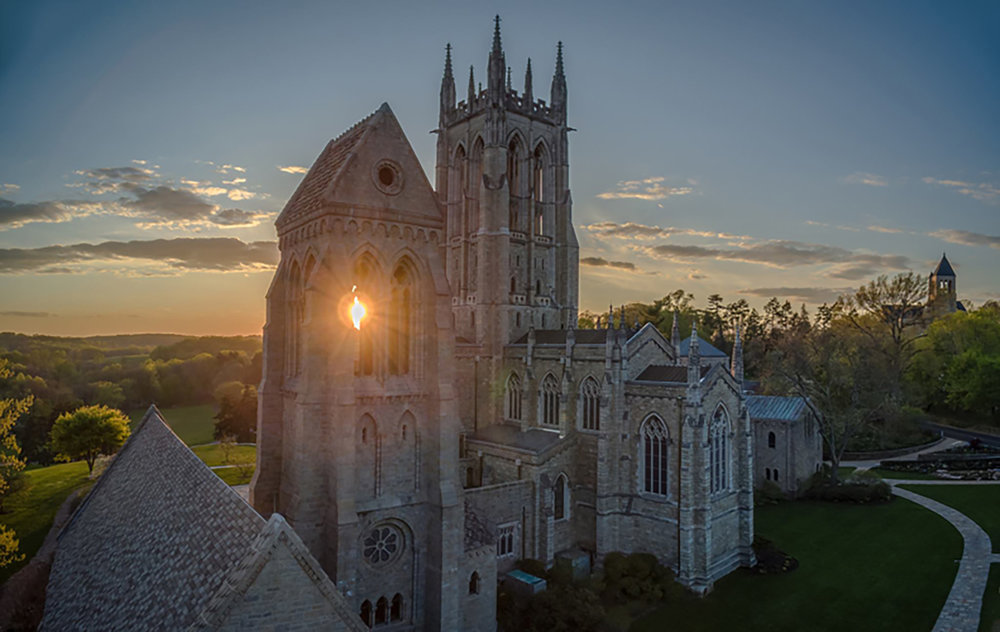 Figure 7: Aerial view of Bryn Athyn Cathedral. Photograph by Brent Schnarr.