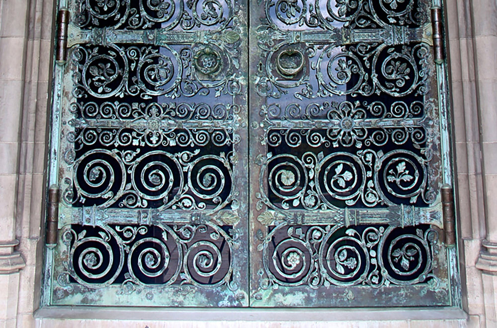 Figure 11: The lower portion of Bryn Athyn Cathedral's west door made from Monel and glass.