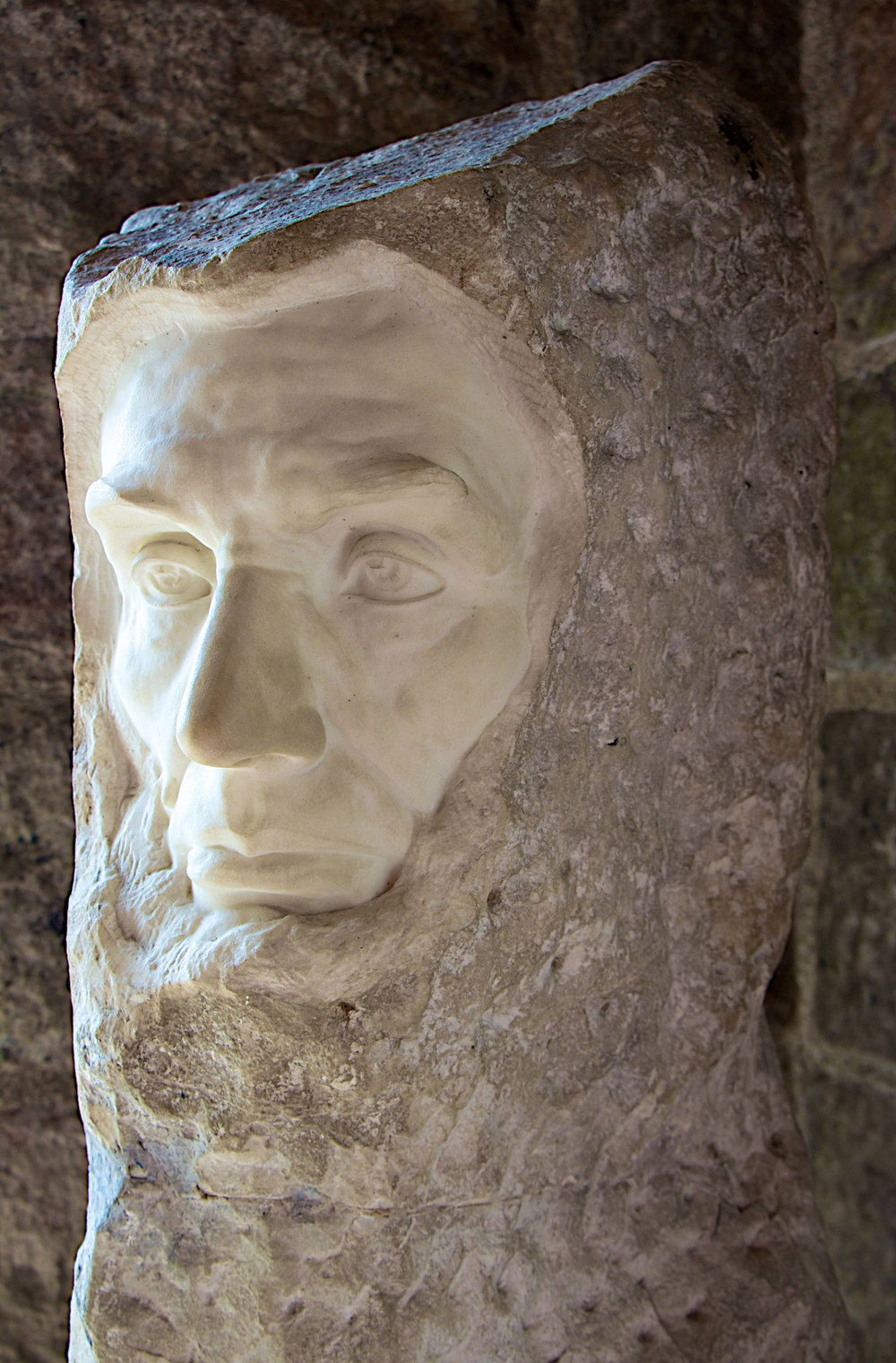 Figure 1: This marble bust of Abraham Lincoln was sculpted in 1923 by George Grey Barnard. It was purchased by Raymond Pitcairn in 1929, and is now on exhibit in Glencairn Museum.