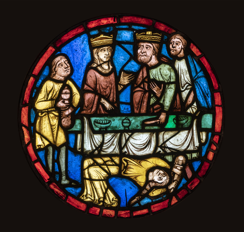 Salome Dancing at the Feast of Herod, a stained-glass roundel from the Church of Saint-Martin, Breuil-le-Vert, France, c. 1235 (03.SG.109).