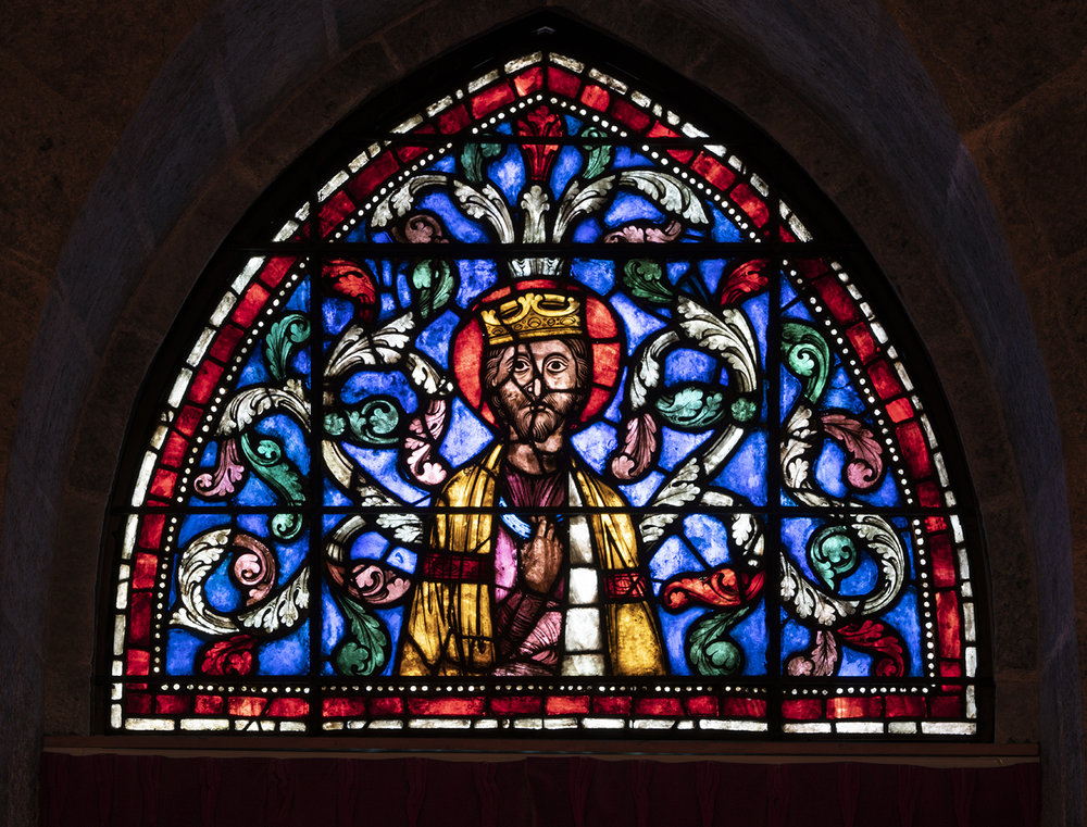 Figure 2: Old Testament King, stained-glass panel from the Church of Saint-Gervais-et-Saint-Protais, Soissons, France, c. 1210-15 (03.SG.229).