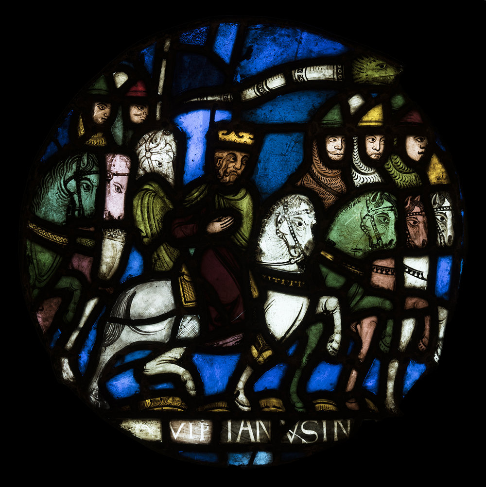 Figure 11: Charlemagne (?) Leads Soldiers in the Holy Land, stained-glass panel from the Royal Abbey Church of Saint-Denis, outside Paris, France, c. 1150 (03.SG.156).